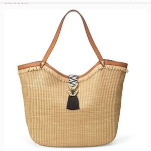 Stella And Dot Riveria Tote with Raffia Fringe